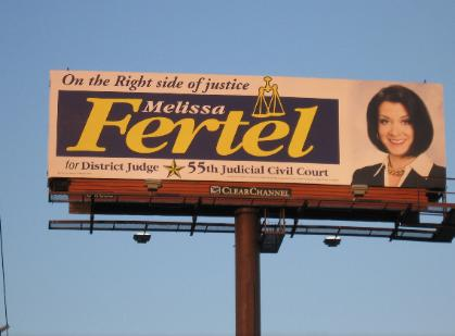 Melissa Fertel Photo of Judicial Campaign for 55th District Court Billboard